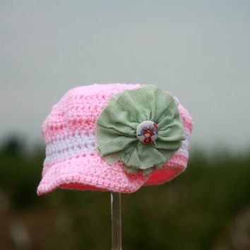 Crocheted Newsboy Cap - Beanie Hat With Visor - Pink and White With a Shabby Chic Flower - Baby 0-3 Months - Free Shipping