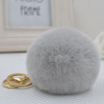 VONEFX8 8CM Genuine rex Rabbit fur ball Gold color keychain cute Car key ring Bag Pendant fur pom fluffy key chains