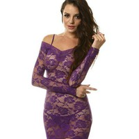 Sexy Purple Lace Rose Dress with G-String Lingerie