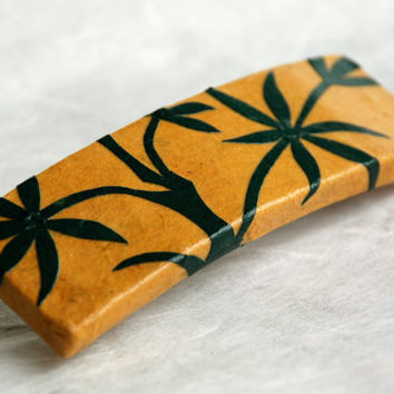Bamboo Hanji French Barrette Hair Pin Yellow Sturdy Stainless Steel Hair Clip Barrette Handmade Mustard Green