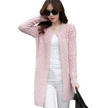 Autumn Winter Brand Design Beading O-neck Long Knitted Sweaters Women coat Elegant Casual Cardigans Knitwear