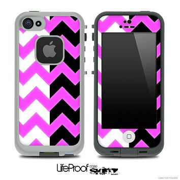 Hot Pink & Black/White Chevron Pattern Skin for the iPhone 5 or 4/4s LifeProof Case