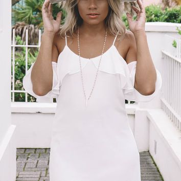 Carried Away Off White Off The Shoulder Dress