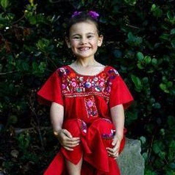 Mexican Dress for Girls Red