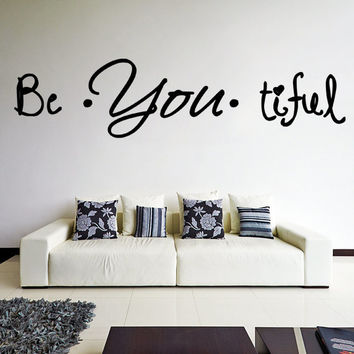 Vinyl Wall Decal Quote Be*You*tiful / Inspirational Text Beautiful Art Decor Sticker for Fridge, Window, Furniture + Free Random Decal Gift!