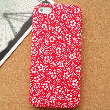 Vintage Red Floral iPhone 4 Case iphone 4s case fabric iphone 5 case