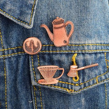 4pcs/set Coffee appliances Filter cup Kettle Brooch Pins Buckle Denim Jacket Shirt Lapel Pin Badge Fashion Jewelry Gift for Kids
