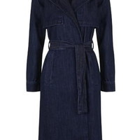 MOTO Indigo Denim Trench Coat - Indigo Denim