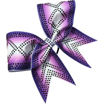 Double ombre bow with criss cross rhinestones design