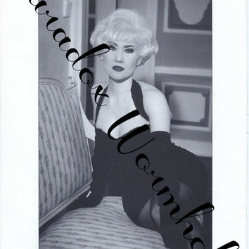Vintage 90's 1995 Lee Kleimann Print Black & White Wall Art Decor Sexy Double Sided Man Cave Pin-up Girl
