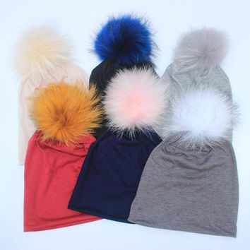 CREYONJ 2017 New Spring Beanies Hats For Womens Soft cotton Polyester Slouch Beanies With Real Fur Pompom Hats For Ladies Oversize Hat