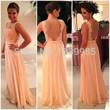 2017 Chiffon Lace Applique Sheer Bodice Sexy Scoop Open Back Long Prom Dress Party Dress Backless Evening Dress