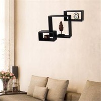 Adeco 3-Piece Black Wood Decorative Collage Wall Shelves Cabinet