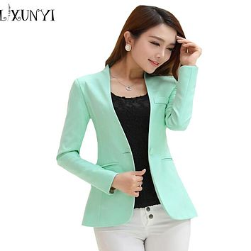 2017 Spring Autumn Long sleeve Shrug Women Blazer Candy Color ladies blazer jacket Suit Jackets women blazers and jackets green