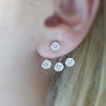 Ear Jacket, 925 Sterling Silver, cubic zirconia, double earrings, ear cuffs, trendy earrings,