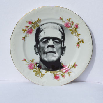 """Frankenstein Modified Upcycled Vintage Decorative Plate - 10"""" Plate"""
