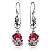 Sterling Silver Marcasite and Red Glass Oval Wire Earrings