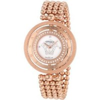 Versace Women's 80Q81SD497 S080 Eon Three Rings Rose Gold Plated 40 Diamond Mother-Of-Pearl Watch
