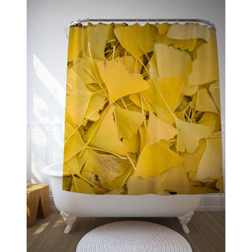 Ginko Leaves Shower Curtain, Yellow Bath Decor, Nature Photography, Yellow Shower Art, Nature Decor