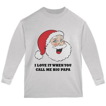 ESBGQ9 Christmas Santa I Love it When You Call Me Big Papa Youth Long Sleeve T Shirt