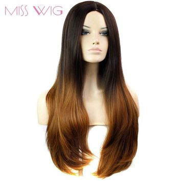 MISS WIG Ombre Grey color Wig Three Colors Available Long Straight wigs for Black Women Synthetic Wigs