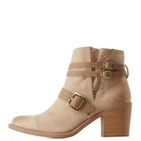 Taupe Chunky Heel Perforated Booties with Buckles