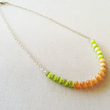 Peach Necklace; Lime Green; Glass Beads; Bright Colors; Beaded Chain; Orange; Girl Gifts; Women Gifts; Bead Jewelry; Silver Chain; Handmade