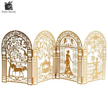 Wedding Invitation Cards Laser Cut 3d Anniversary Decoration Custom Printing with Envelope Vintage Greeting Romantic Paper 50PCS