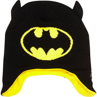 River Island Boys black Batman trapper beanie hat