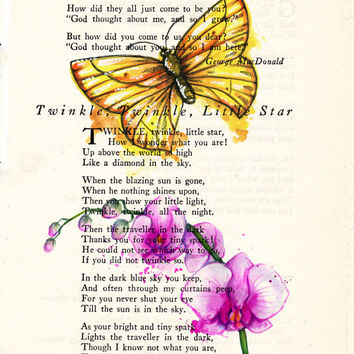 Yellow Butterfly with Tropical Pink Flowers Book Page Art Poem Page Art Upcycled Art Print Antique Poem Book Yellow Butterfly Print cp396