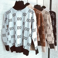 Gucci Chanel Print Top Sweater Pullover Pants Trousers Set Two-Piece Sportswear