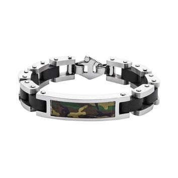 Two Tone Stainless Steel Camouflage Bracelet - Men (Silver)