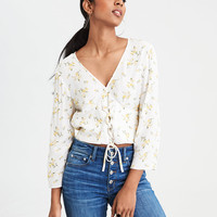 AE Long Sleeve Lace-Up Top, Cream