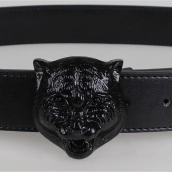 GUCCI Men Fashion Tiger Head Smooth Buckle Belt Leather Belt