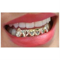 14k gold Overlay Removable gold teeth caps Grillz & mold kit 6 teeth grills bottom or top /g4
