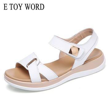 E TOY WORD 2018 Women sandals summer genuine leather flat sandals ankle strap Platform sandals ladies sexy white wedge sandals