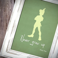 "Disney Peter Pan inspired Baby Children Boy or Girl Birth Gift idea Nursery room wall art decor ""Never grow up"" - Print A4 20x30 -"