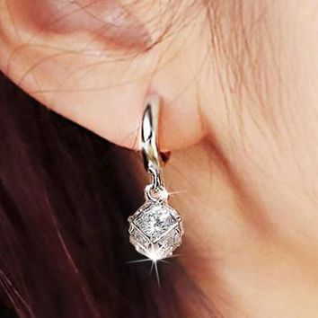 Magic Crystal Cube Drop Dangle Earrings