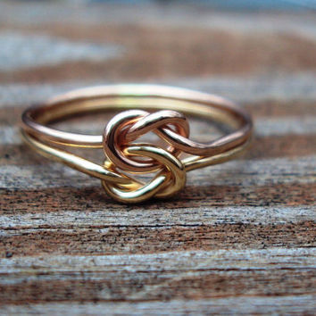 Set of 2, friendship, Etsy jewelry, love KNOT ring, celtic,14kt gf, arg ss, 16g, any combo of metals from list below
