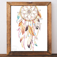 Dreamcatcher print, dreamcatcher art, dream catcher print, printable art, tribal print, wall art, instant download, dream catcher