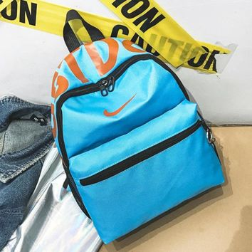 NIKE Fashion New Hook Letter Print Women Men Backpack Bag Blue