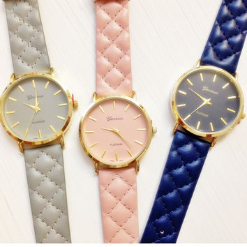 Pretty Quilting Leather Band Watches #W31