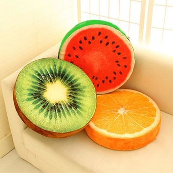 2017 &  Funny Cute Fruit Design 3D Fruit Pillows Cotton Office Chair Back Cushion Sofa Throw Pillow For Living room Decorative