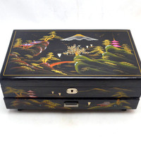 Vintage Japanese Jewelry Box, Musical Jewelry Box, Black Lacquer with Pink Velvet Interior, Inlaid with MOP