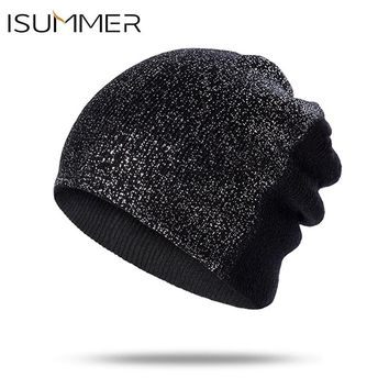 ISummer Women  Beanie Knitted Skullies Beanies Hats women Winter Hat ladies Female Fashion Cap Hat For Girls Solid Color Gorro
