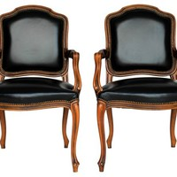 Italian Black Leather Armchairs, S/2