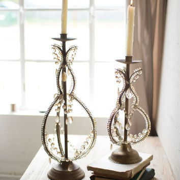 Set of 2 Iron Taper Candle Holders with Beaded Detail