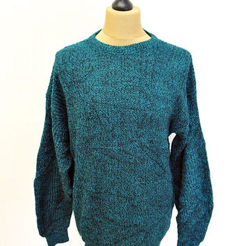 Vintage 90s Edison Blue Black Shaker Knit Jumper Sweater Large