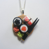 Sushi Miniature Food Necklace Pendant - Miniature Food Jewelry