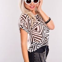 White Black Printed Short Sleeves Sheer Top